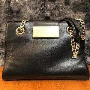 Calvin Klein Black Leather Magnetic Closer Purse